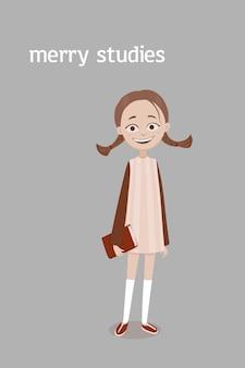 Uma menina de escola sorridente fofa com tranças marrons e um livro vermelho na mão em um vestido e meias até o joelho. ilustração dos desenhos animados. isolado sobre o fundo cinza