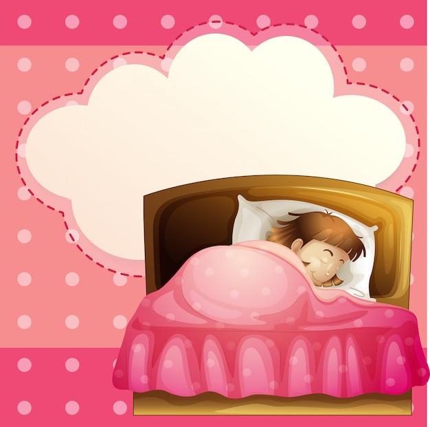 Uma menina dormindo em seu quarto profundamente com um texto explicativo vazio