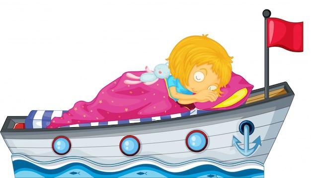 Uma menina dormindo em um navio com um cobertor rosa