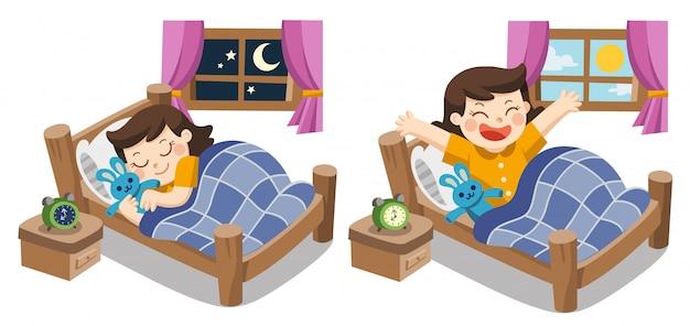 Uma menina dormindo esta noite, boa noite, bons sonhos. e ela acorda de manhã.