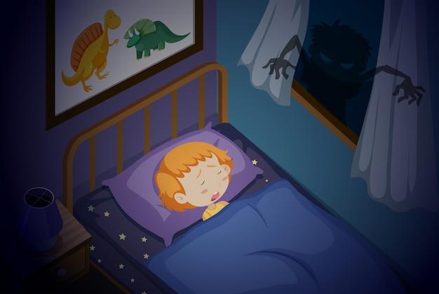 Uma menina dormindo pesadelo