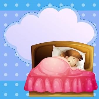 Uma menina dormindo profundamente com um texto explicativo vazio