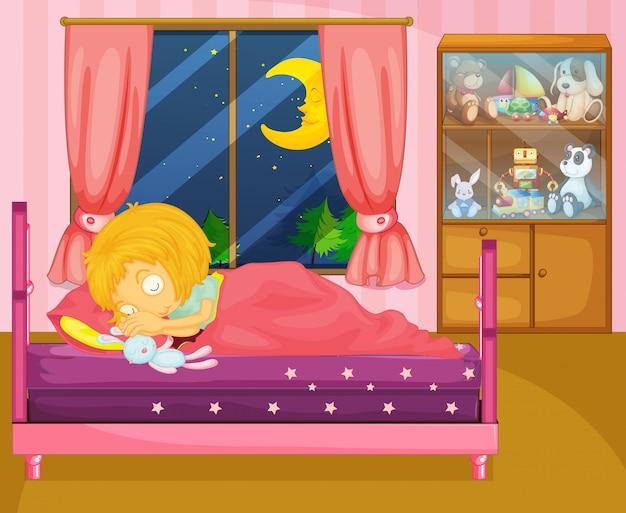 Uma menina dormindo profundamente em seu quarto
