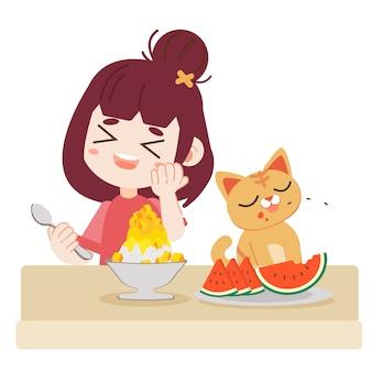 Uma menina e gato bonito comer comida refrescante