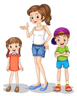 Uma menina e seus irmãos