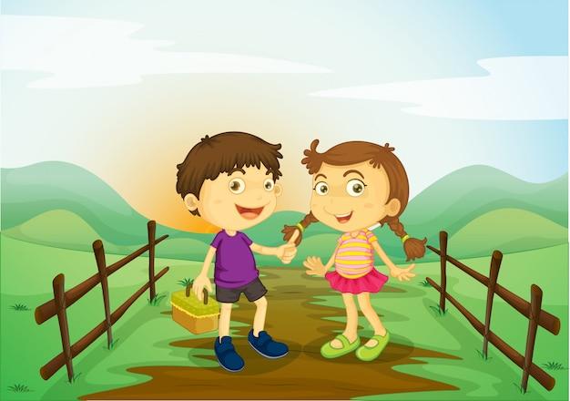 Uma menina e um menino