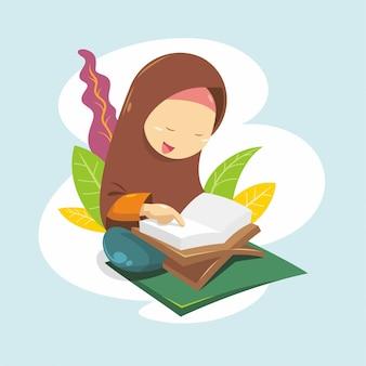 Uma menina está lendo o alcorão