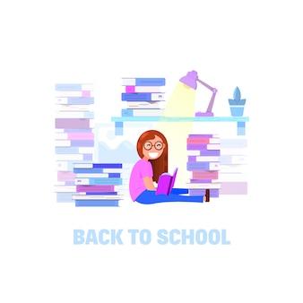 Uma menina está lendo um livro
