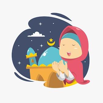 Uma menina está rezando