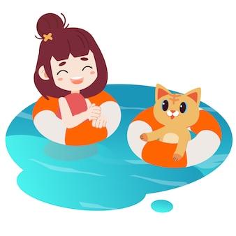 Uma menina feliz e gato bonito que nadam na água.