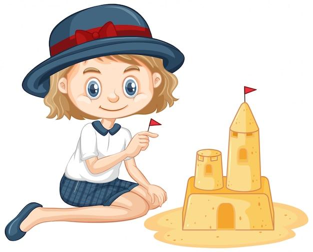 Uma menina feliz jogando castelo de areia