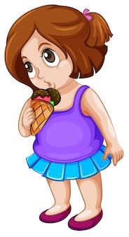 Uma menina gordinha comendo sorvete