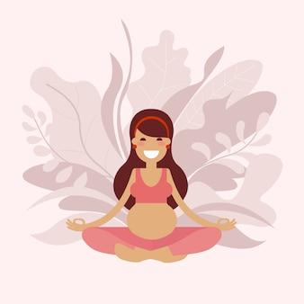 Uma menina grávida do yoga está meditando.