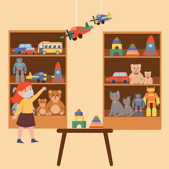 Uma menina que escolhe o brinquedo na loja de brinquedos enquanto continua usando a ilustração da máscara médica