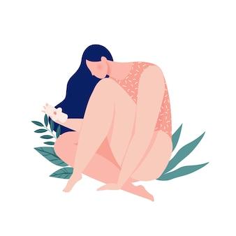 Uma menina sangrando segurando um absorvente no período menstrual. proteção ecológica para mulheres em dias críticos.