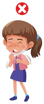 Uma menina tosse com o vírus corona
