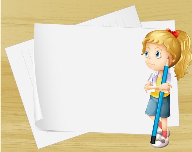 Uma menina triste com um lápis em pé na frente dos papéis vazios