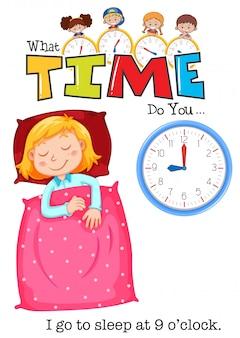 Uma menina vai dormir às 9 horas