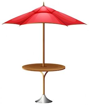 Uma mesa com um guarda-chuva