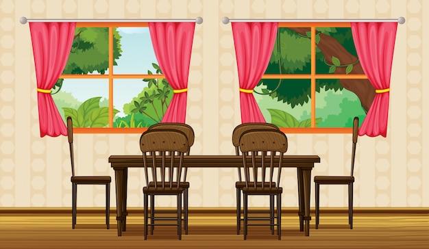 Uma mesa de jantar e cadeiras