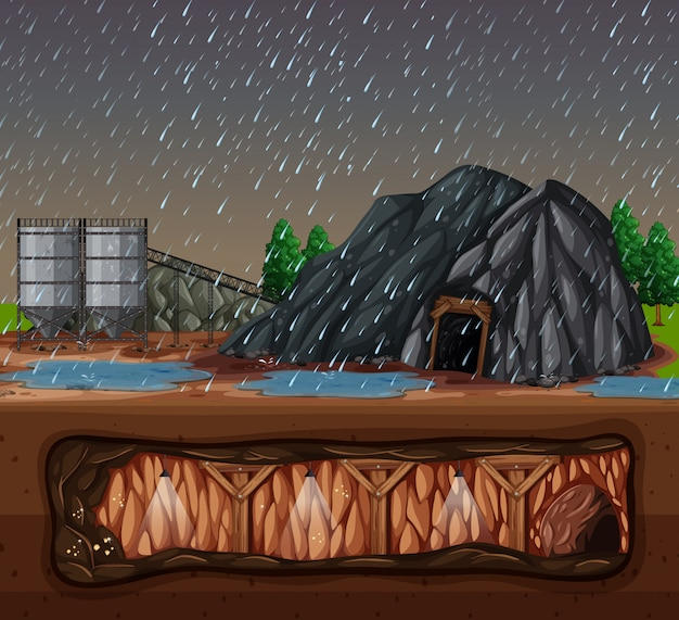Uma mina de pedra no dia chuvoso