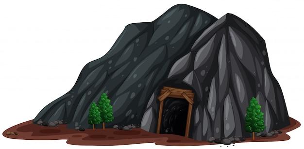 Uma mina de pedra no fundo branco