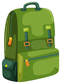 Uma mochila verde sobre fundo branco