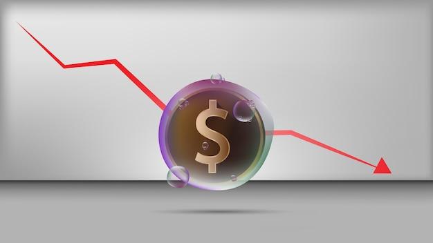 Uma moeda de dólar de ouro em bolha transparente