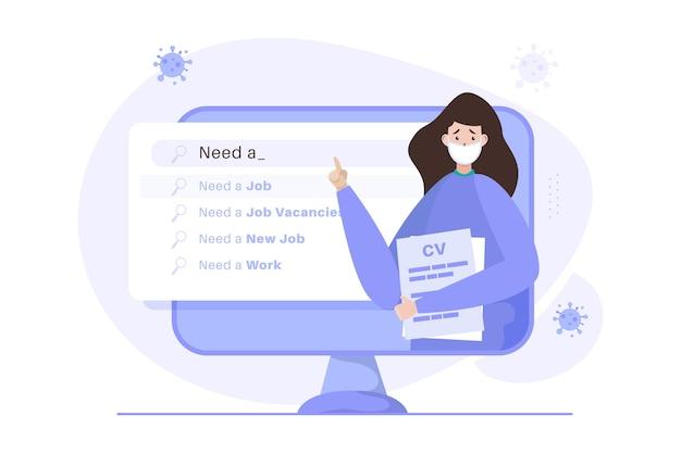 Uma mulher à procura de emprego na ilustração do site