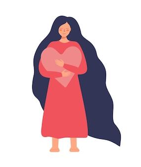 Uma mulher abraça um coração, um símbolo de amor próprio, corpo, força feminina positiva, uma garota com longos cabelos escuros