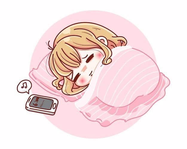 Uma mulher bonita dormindo com um despertador e desenho de personagem de desenho animado.