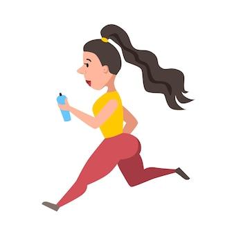Uma mulher bonita e esguia corre. atletismo. ilustração vetorial em um fundo branco e isolado. eps 10