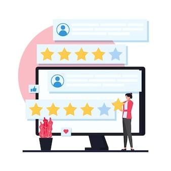 Uma mulher colocou uma estrela no monitor para uma pesquisa com o cliente.