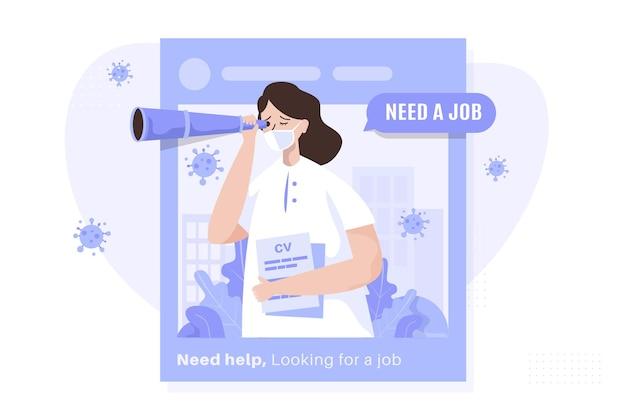 Uma mulher com binóculos à procura de um conceito de ilustração de emprego