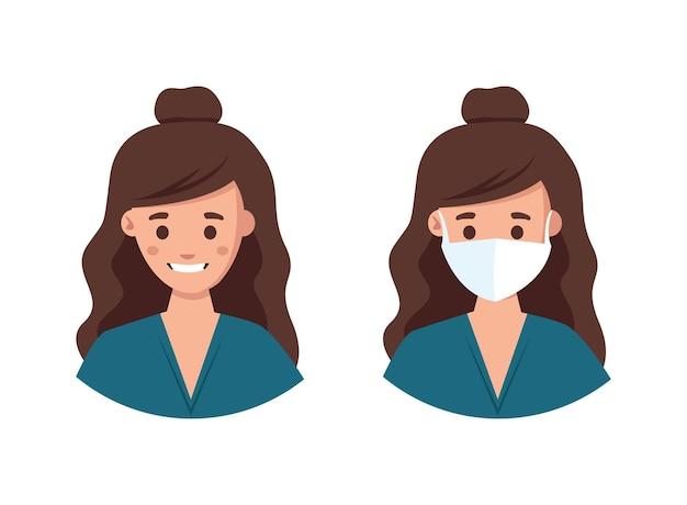 Uma mulher com e sem máscara médica é necessária uma máscara