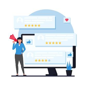 Uma mulher com um megafone ao lado do monitor exibindo as avaliações dos clientes.