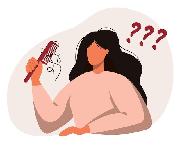Uma mulher com um pente na mão. queda de cabelo, alopecia em idade jovem, problemas de cabelo, calvície.
