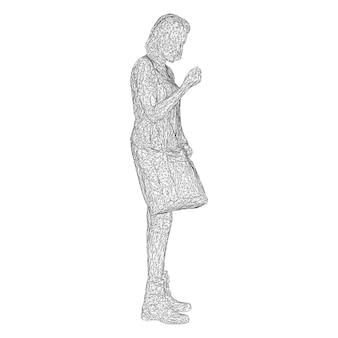 Uma mulher com uma bolsa na mão dobrada. ilustração em vetor de uma malha triangular preta sobre fundo branco.
