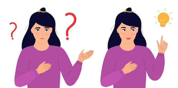 Uma mulher confusa está pensando. a menina tem uma ideia. solução correta. procurando por decisão.