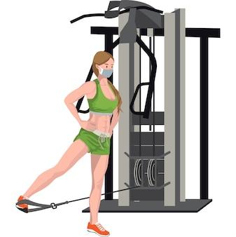 Uma mulher construindo os músculos das pernas usando uma máquina de cabo