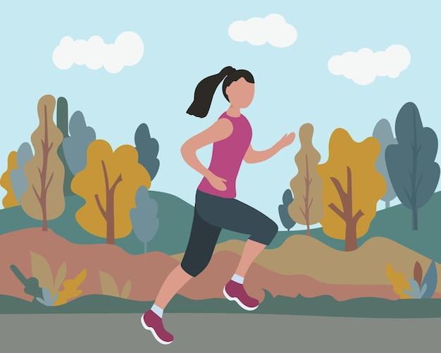 Uma mulher correndo uma maratona em um parque de outono