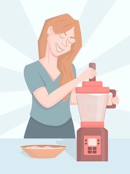 Uma mulher de desenho animado está de pé na cozinha ao lado de um liquidificador.