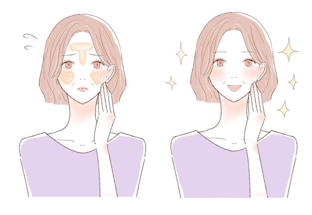 Uma mulher de meia-idade com pele oleosa. antes e depois. sobre um fundo branco.