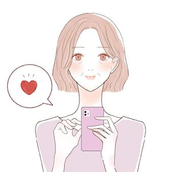 Uma mulher de meia-idade que gosta com um smartphone. sobre um fundo branco.