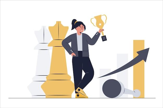 Uma mulher de negócios elabora estratégias para atingir objetivos e troféus, como xadrez ambulante