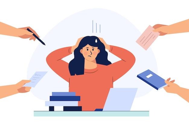 Uma mulher de negócios está segurando o cabelo sob estresse durante o trabalho. mão desenhada estilo ilustrações vetoriais.