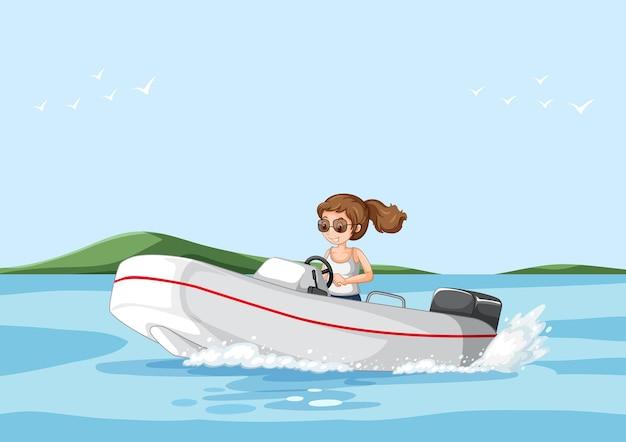 Uma mulher dirigindo uma lancha na cena do rio