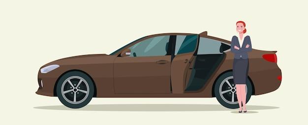 Uma mulher e um carro sedan com a porta traseira aberta. ilustração vetorial.