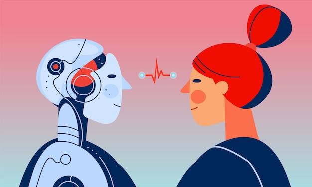 Uma mulher e um robô com inteligência artificial olhando um para o outro