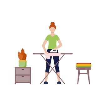 Uma mulher em casa passa roupas de ferro. engomar roupas na tábua de passar. personagem de vetor plana.